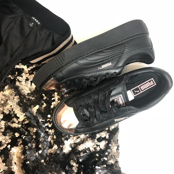 9486bb5262aa Puma Shoes - Puma Basket Metallic Shoes Rose Gold Black 10